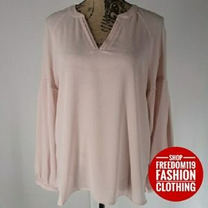 Vince Camuto | Crepe V Neck Tunic Top (S)